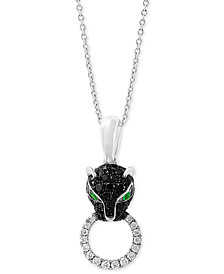 "EFFY® Diamond (1/2 ct. t.w.) & Emerald Accent Panther 18"" Pendant Necklace in 14k White Gold"