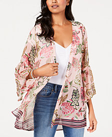 Style & Co Printed Flutter-Sleeve Kimono, Created for Macy's