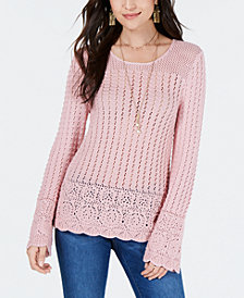 Style & Co Multi-Crochet Sweater, Created for Macy's