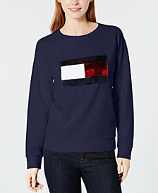 Tommy Hilfiger Sequin Logo Sweatshirt, Created for Macy's