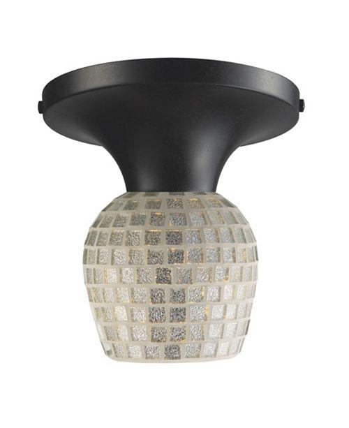 ELK Lighting Celina 1-Light Semi-Flush in Dark Rust and Silver Glass
