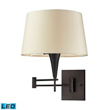 1- Light Swing Arm in Aged Bronze - LED Offering Up To 800 Lumens (60 Watt Equivalent) with Full Range