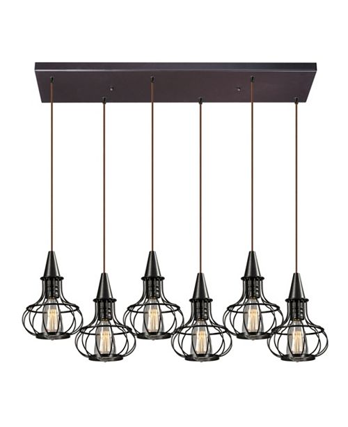 ELK Lighting Yardley Collection 6 light pendant in Oil Rubbed Bronze