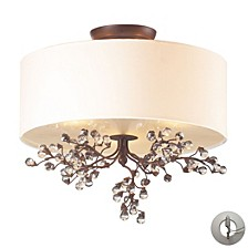 Winterberry 3 Light Semi Flush in Antique Darkwood Includes An Adapter Kit To Allow for Easy Convers