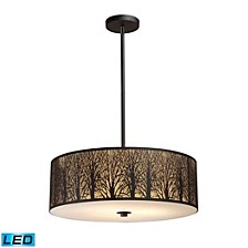 Woodland Sunrise 5-Light Pendant in Aged Bronze - LED, 800 Lumens (4000 Lumens Total) with Full Scale Dimming Range