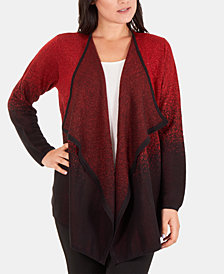 NY Collection Ombré Metallic Draped Cardigan