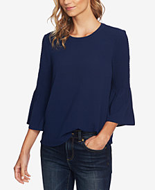 CeCe Smocked Bell-Sleeve Top