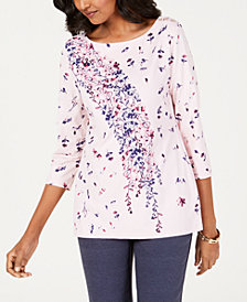 Charter Club Floral Garland Button Top, Created for Macy's