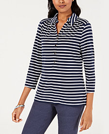 Charter Club Striped Polo Top, Created for Macy's