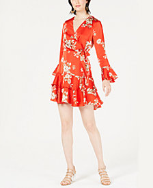 Bar III Faux-Wrap Flounce Dress, Created for Macy's