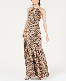 Bar III A-Line Animal Printed Halter Dress, Created for Macy's