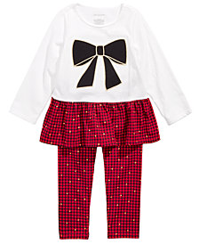 First Impressions Toddler Girls Holiday Bow Tunic & Checked Leggings Separates, Created for Macy's