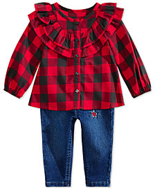 First Impressions Baby Girls Checked Ruffle Top & Star Patch Denim Jeans Separates, Created for Macy's