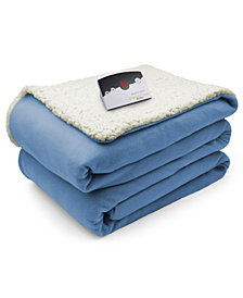 Biddeford Heated Comfort Knit Fleece/Sherpa Twin Blanket