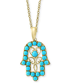 "EFFY® Manufactured Turquoise (1-3/4mm & 2-1/2mm) Hamsa Hand 18"" Pendant Necklace in 14k Gold"