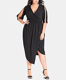 City Chic Trendy Plus Size Asymmetrical Faux-Wrap Dress