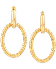 Twisted Oval Hoop Earrings in 14k Yellow Gold