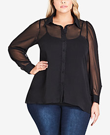 City Chic Trendy Plus Size Sheer Button-Up Shirt