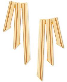 Triple Bar Polished Stud Earrings in 10k Gold