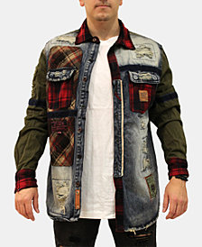 Heritage America Mens Plaid Patch Button-Up Jacket