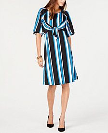 NY Collection Petite Striped Tie-Front Dress
