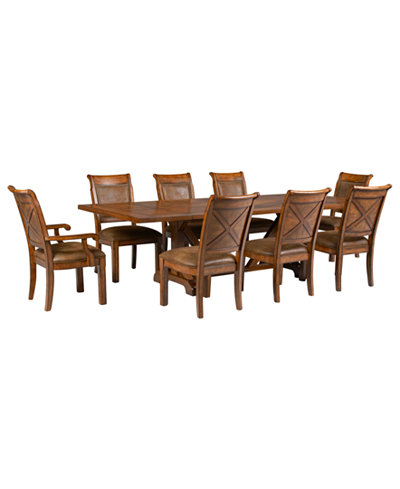 Mandara 9 Pc Dining Room Set Trestle Table 6 Side Chairs