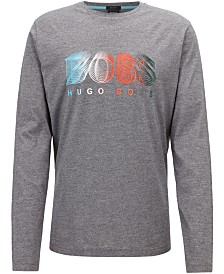 BOSS Men's Logo Graphic Long-Sleeve Cotton Shirt