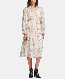 DKNY Printed Tie-Neck Maxi Dress, Created for Macy's