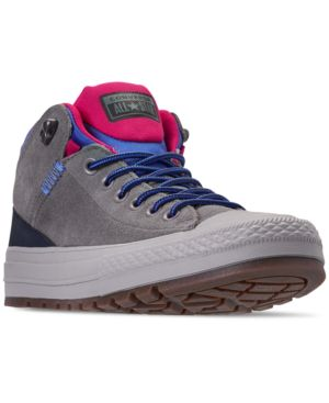 Men'S Chuck Taylor All Star Street Boot Casual Sneakers From Finish Line in Mason/Obsidian/Pink Pop