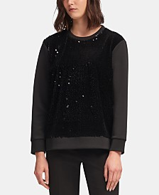 DKNY Long-Sleeve Sequin-Front Sweatshirt