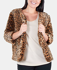 NY Collection Cropped Cheetah-Print Faux Fur Jacket