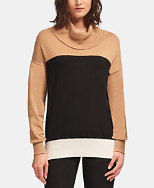 DKNY Colorblocked Cowlneck Sweater, Created for Macy's