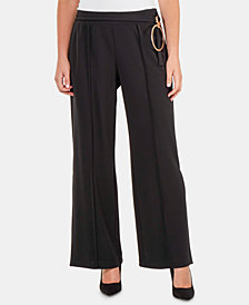 NY Collection Belted Wide-Leg Pants