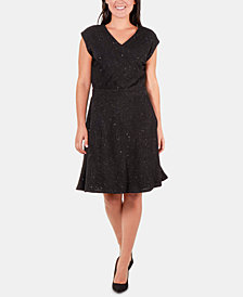 NY Collection Glitter Fit & Flare Dress