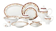 Lorren Home Trends Mabel 57-PC Dinnerware Set, Service for 8