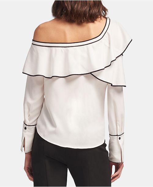 c038e15503f97c DKNY Ruffled One-Shoulder Top   Reviews - Tops - Women - Macy s