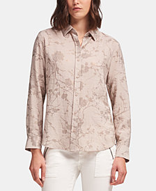 DKNY Floral-Print Textured Collared Shirt, Created for Macy's