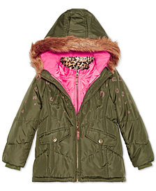 London Fog Little Girls 4-in-1 Systems Jacket with Faux-Fur Trim