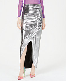 LEYDEN Ruched Metallic Maxi Skirt