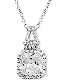 "Cubic Zirconia Halo 18"" Pendant Necklace in Sterling Silver"