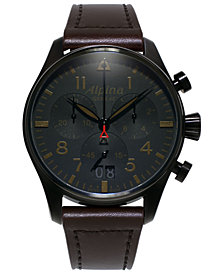 Alpina Men's Swiss Automatic Chronograph Startimer Pilot Brown Leather Strap Watch 44mm