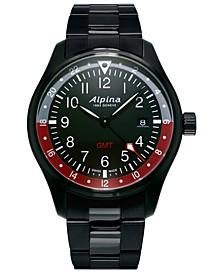 Men's Swiss Startimer Pilot Black PVD Stainless Steel Bracelet Watch 42mm