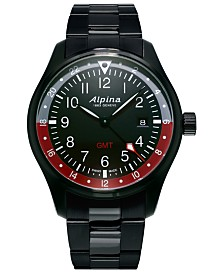 Alpina Men's Swiss Startimer Pilot Black PVD Stainless Steel Bracelet Watch 42mm