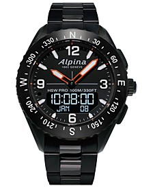 Men's Swiss Analog-Digital Alpiner X Black PVD Stainless Steel Bracelet Hybrid Smart Watch 45mm