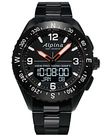 Alpina Men's Swiss Analog-Digital Alpiner X Black PVD Stainless Steel Bracelet Hybrid Smart Watch 45mm