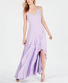 Calvin Klein Spaghetti-Strap Chiffon Ruffle Gown