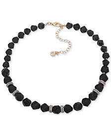 "Anne Klein Faceted Bead & Crystal Collar Necklace, 16"" + 3"" extender, Created for Macy's"