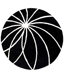 Surya Forum FM-7072 Black 4' Round Area Rug
