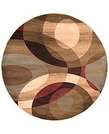 Riley RLY-5007 Dark Red 8' Round Area Rug