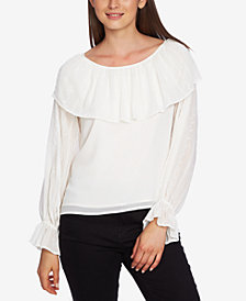 1.STATE Embroidered Ruffle Top